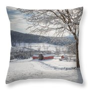 New England Winter Farms Morning Square Throw Pillow