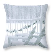 New England Winter Porch Throw Pillow