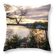 New England Winter Sunset Throw Pillow