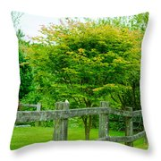 New England Wooden Fence Throw Pillow