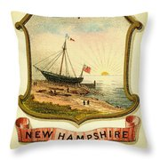 New Hampshire Coat Of Arms - 1876 Throw Pillow