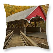 New Hampshire Covered Bridge Throw Pillow