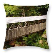 New Hampshire Covered Bridge Throw Pillow by Ella Char