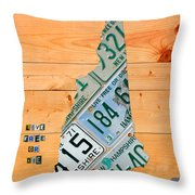 New Hampshire License Plate Map Live Free Or Die Old Man Of The Mountain Throw Pillow by Design Turnpike