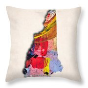 New Hampshire Map Art - Painted Map Of New Hampshire Throw Pillow