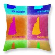 New Hampshire Pop Art Map 2 Throw Pillow