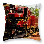 New Hope Ivyland Railroad With Cars Throw Pillow