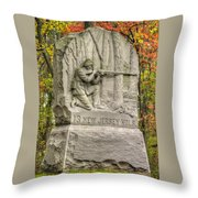 New Jersey At Gettysburg - 13th Nj Volunteer Infantry Near Culps Hill Autumn Throw Pillow by Michael Mazaika