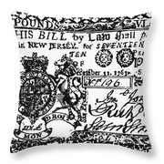 New Jersey Banknote, 1763 Throw Pillow