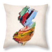 New Jersey Map Art - Painted Map Of New Jersey Throw Pillow