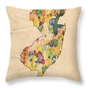 New Jersey Map Vintage Watercolor Throw Pillow