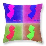 New Jersey Pop Art Map 2 Throw Pillow