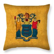 New Jersey State Flag Art On Worn Canvas Throw Pillow