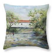 New Jersey's Last Covered Bridge Throw Pillow by Katalin Luczay