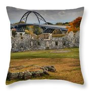 New Lake Champlain Bridge Over Fort Crown Point Panorama Throw Pillow