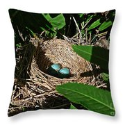New Life - Robin's Nest Throw Pillow