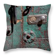 New Lock On Old Door 3 Throw Pillow