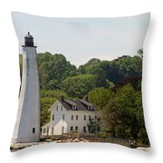 New London Harbor Lighthouse Throw Pillow