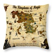 New Map Of The Kingdoms Of Magic Throw Pillow