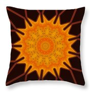 New Media Art Marigold On Mocha Kaleidoscope  Throw Pillow