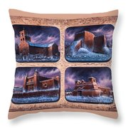 New Mexico Churches In Snow Throw Pillow