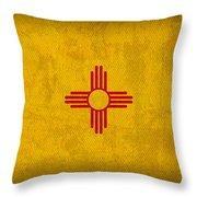 New Mexico State Flag Art On Worn Canvas Throw Pillow