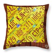 New Mexico State License Plate Map Throw Pillow