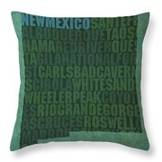 New Mexico Word Art State Map On Canvas Throw Pillow
