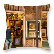 New Orleans Art Shop On Royal Throw Pillow