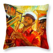 New Orleans Brass Band Throw Pillow
