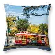 New Orleans - Canal St Streetcar 2 Throw Pillow
