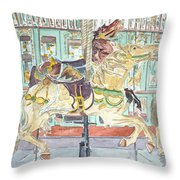 New Orleans Carousel Throw Pillow