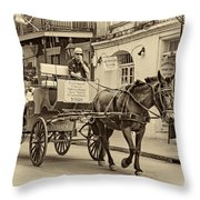 New Orleans - Carriage Ride Sepia Throw Pillow