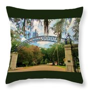 New Orleans City Park - Pizzati Gate Entrance Throw Pillow