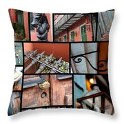 New Orleans Collage 2 Throw Pillow