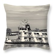 New Orleans Ferry Bw Throw Pillow