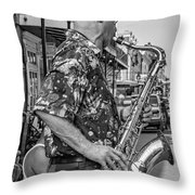 New Orleans Jazz Sax Bw Throw Pillow