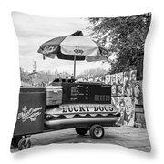New Orleans - Lucky Dogs Bw Throw Pillow by Steve Harrington