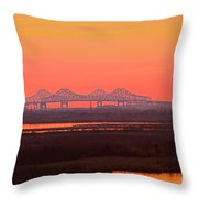 New Orleans Mississippi Bridge Throw Pillow