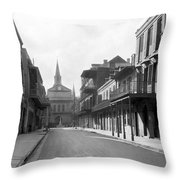 New Orleans Old French Quarter Throw Pillow