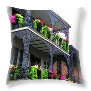 New Orleans Porches Throw Pillow