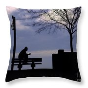 New Orleans Riverwalk Silhouette Throw Pillow