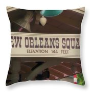 New Orleans Signage Disneyland Throw Pillow