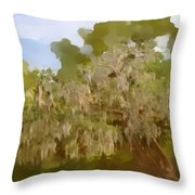 New Orleans Spanish Moss On Live Oaks Throw Pillow by Christine Till