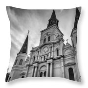 New Orleans St Louis Cathedral Bw Throw Pillow