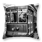 New Orleans Streetcar Black And White Picture Throw Pillow