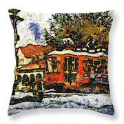 New Orleans Streetcar Paint Vg Throw Pillow