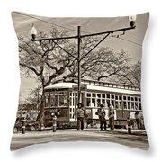 New Orleans Streetcar Sepia Throw Pillow