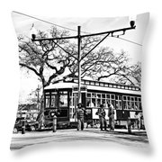 New Orleans Streetcar Silhouette Throw Pillow