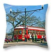New Orleans Streetcar Throw Pillow